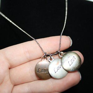 Vintagejelyfish Jewelry - Tri metal Live laugh love necklace adjustable